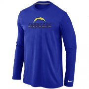 Wholesale Cheap Nike Los Angeles Chargers Authentic Logo Long Sleeve T-Shirt Blue