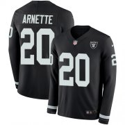 Wholesale Cheap Nike Raiders #20 Damon Arnette Black Team Color Men's Stitched NFL Limited Therma Long Sleeve Jersey