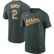 Wholesale Cheap Oakland Athletics #2 Khris Davis Nike Name & Number Team T-Shirt Green
