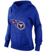 Wholesale Cheap Women's Tennessee Titans Logo Pullover Hoodie Blue-1