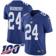 Wholesale Cheap Nike Giants #24 James Bradberry Royal Blue Team Color Men's Stitched NFL 100th Season Vapor Untouchable Limited Jersey
