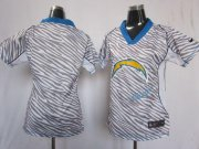 Wholesale Cheap Nike Chargers Blank Zebra Women's Stitched NFL Elite Jersey