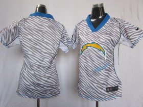 Wholesale Cheap Nike Chargers Blank Zebra Women\'s Stitched NFL Elite Jersey