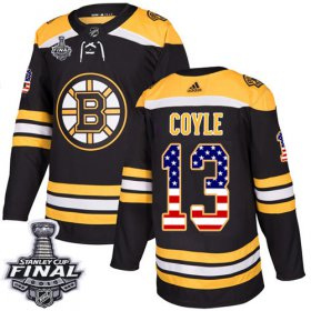 Wholesale Cheap Adidas Bruins #13 Charlie Coyle Black Home Authentic USA Flag 2019 Stanley Cup Final Stitched NHL Jersey