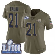 Wholesale Cheap Nike Rams #21 Aqib Talib Olive Super Bowl LIII Bound Women's Stitched NFL Limited 2017 Salute to Service Jersey