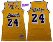 Wholesale Cheap Women's Los Angeles Lakers #24 Kobe Bryant Yellow Hardwood Classics Soul Swingman Throwback Jersey Dress