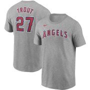 Wholesale Cheap Los Angeles Angels #27 Mike Trout Nike Name & Number T-Shirt Gray