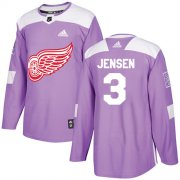 Wholesale Cheap Adidas Red Wings #3 Nick Jensen Purple Authentic Fights Cancer Stitched NHL Jersey