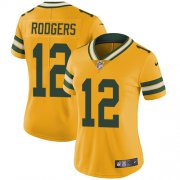 Wholesale Cheap Nike Packers #12 Aaron Rodgers Yellow Women's Stitched NFL Limited Rush Jersey