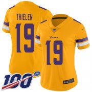 Wholesale Cheap Nike Vikings #19 Adam Thielen Gold Women's Stitched NFL Limited Inverted Legend 100th Season Jersey