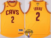 Wholesale Cheap Men's Cleveland Cavaliers #2 Kyrie Irving 2017 The NBA Finals Patch Yellow Jersey