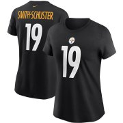 Wholesale Cheap Pittsburgh Steelers #19 JuJu Smith-Schuster Nike Women's Team Player Name & Number T-Shirt Black