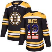 Wholesale Cheap Adidas Bruins #12 Adam Oates Black Home Authentic USA Flag Stitched NHL Jersey