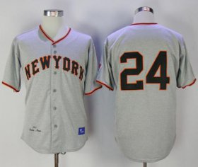 Wholesale Cheap Mitchell And Ness 1951 Giants #24 Willie Mays Grey Throwback Stitched MLB Jersey