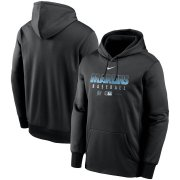 Wholesale Cheap Men's Miami Marlins Nike Black Authentic Collection Therma Performance Pullover Hoodie