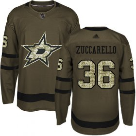 Wholesale Cheap Adidas Stars #36 Mats Zuccarello Green Salute to Service Youth Stitched NHL Jersey