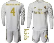 Wholesale Cheap Real Madrid #4 Sergio Ramos Home Long Sleeves Kid Soccer Club Jersey