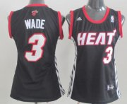 Wholesale Cheap Miami Heat #3 Dwyane Wade Black Womens Jersey