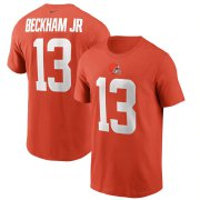 Wholesale Cheap Cleveland Browns #13 Odell Beckham Jr. Nike Team Player Name & Number T-Shirt Orange