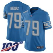 Wholesale Cheap Nike Lions #79 Kenny Wiggins Blue Team Color Youth Stitched NFL 100th Season Vapor Untouchable Limited Jersey