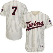 Wholesale Cheap Twins #7 Joe Mauer Cream Strip Flexbase Authentic Collection Stitched MLB Jersey