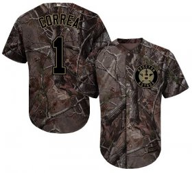 Wholesale Cheap Astros #1 Carlos Correa Camo Realtree Collection Cool Base Stitched Youth MLB Jersey