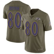 Wholesale Cheap Nike Ravens #80 Miles Boykin Olive Men's Stitched NFL Limited 2017 Salute To Service Jersey