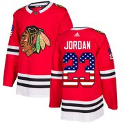 Wholesale Cheap Adidas Blackhawks #23 Michael Jordan Red Home Authentic USA Flag Stitched NHL Jersey