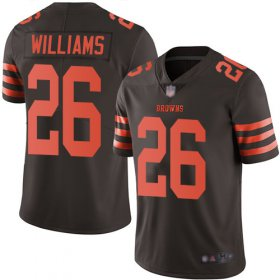 Wholesale Cheap Nike Browns #26 Greedy Williams Brown Men\'s Stitched NFL Limited Rush Jersey