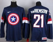 Wholesale Cheap Olympic Team USA #21 James van Riemsdyk Navy Blue Captain America Fashion Stitched NHL Jersey