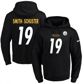 Wholesale Cheap Nike Steelers #19 JuJu Smith-Schuster Black Name & Number Pullover NFL Hoodie