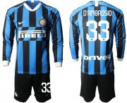 Wholesale Cheap Inter Milan #33 D'Ambrosio Home Long Sleeves Soccer Club Jersey