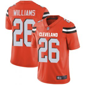 Wholesale Cheap Nike Browns #26 Greedy Williams Orange Alternate Men\'s Stitched NFL Vapor Untouchable Limited Jersey