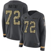 Wholesale Cheap Nike Lions #72 Halapoulivaati Vaitai Anthracite Salute to Service Women's Stitched NFL Limited Therma Long Sleeve Jersey
