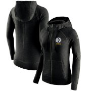 Wholesale Cheap Pittsburgh Steelers Nike Women's Gym Vintage Full-Zip Hoodie Black