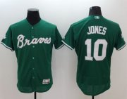 Wholesale Cheap Braves #10 Chipper Jones Green Celtic Flexbase Authentic Collection Stitched MLB Jersey
