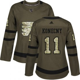 Wholesale Cheap Adidas Flyers #11 Travis Konecny Green Salute to Service Women\'s Stitched NHL Jersey