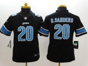 Wholesale Cheap Nike Lions #20 Barry Sanders Black Alternate Youth Stitched NFL Limited Jersey