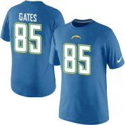 Wholesale Cheap Nike Los Angeles Chargers #85 Gates Pride Name & Number NFL T-Shirt Electric Blue