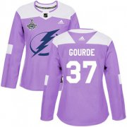 Cheap Adidas Lightning #37 Yanni Gourde Purple Authentic Fights Cancer Women's 2020 Stanley Cup Champions Stitched NHL Jersey