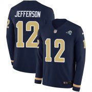 Wholesale Cheap Nike Rams #12 Van Jefferson Navy Blue Team Color Men's Stitched NFL Limited Therma Long Sleeve Jersey