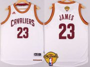 Wholesale Cheap Men's Cleveland Cavaliers #23 LeBron James 2015 The Finals New White Jersey