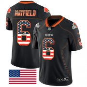 Wholesale Cheap Nike Browns #6 Baker Mayfield Black Men's Stitched NFL Limited Rush USA Flag Jersey