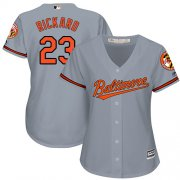Wholesale Cheap Orioles #23 Joey Rickard Grey Road Women's Stitched MLB Jersey