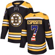 Wholesale Cheap Adidas Bruins #7 Phil Esposito Black Home Authentic USA Flag Stitched NHL Jersey