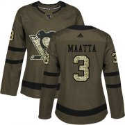 Wholesale Cheap Adidas Penguins #3 Olli Maatta Green Salute to Service Women's Stitched NHL Jersey
