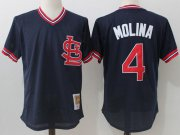 Wholesale Cheap Mitchell And Ness Cardinals #4 Yadier Molina Navy Blue Throwback Stitched MLB Jersey