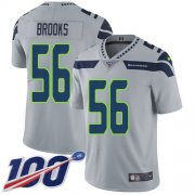 Wholesale Cheap Nike Seahawks #56 Jordyn Brooks Grey Alternate Men's Stitched NFL 100th Season Vapor Untouchable Limited Jersey