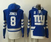 Wholesale Cheap Men's New York Giants #8 Daniel Jones NEW Blue Pocket Stitched NFL Pullover Hoodie