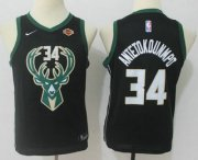 Cheap Youth Milwaukee Bucks #34 Giannis Antetokounmpo Black 2017-2018 Nike Swingman Harley Davidson Stitched NBA Jersey
